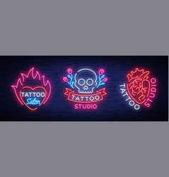 tattoo salon set logos collection of vector image