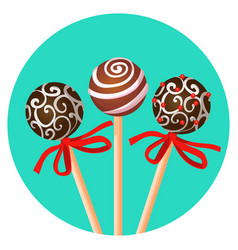 Three bonbones on stick with ornamental brown vector