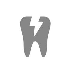 toothache gray icon cracked tooth symbol vector image