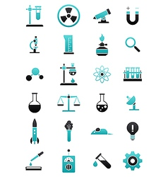 Turquoise black science icons set vector image