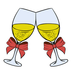 two glasses champagne icon cartoon vector image