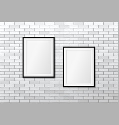 two modern frames on white brick wall mock up vector image