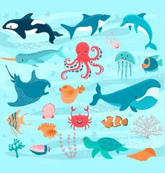 underwater world cartoon ocean animals vector image