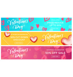 valentine sale banners design template red heart vector image