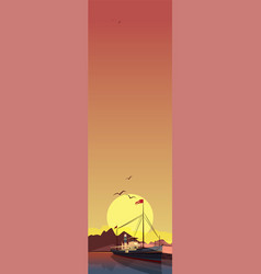 Vertical landscape with ship at sunset vector