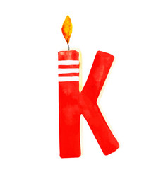Watercolor happy birthday letter k candle vector