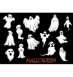 White flying Halloween monsters and ghosts vector image