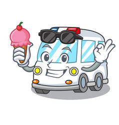 with ice cream ambulance character cartoon style vector image