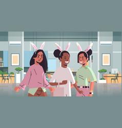 women wearing bunny ears cute mix race girls vector image
