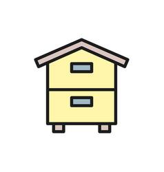wooden hive beehive apiary beekeeping flat vector image
