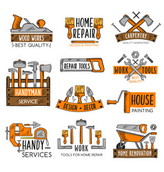 Work tool sketch emblem set for home repair design vector