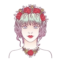 Young girl with flowers in her curly violet hair vector