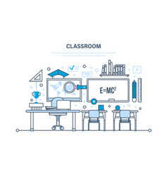 classroom interior of room education learning vector image vector image