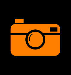 digital photo camera sign orange icon on black vector image