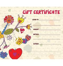 Girft certificate retro design vector image
