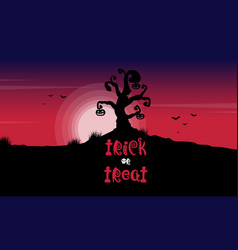 halloween tree on red moon background vector image