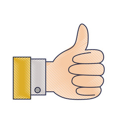 hand thumb up icon in colored crayon silhouette vector image vector image