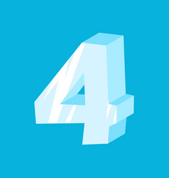 Number 4 ice icicles font four frozen alphabet vector