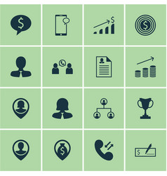 Set of 16 hr icons includes bank payment vector