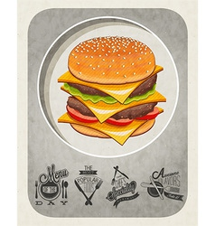 artistic burger design vector image vector image
