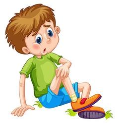 Boy having bruises on his leg vector image vector image