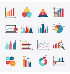 Business Chart Icons Set Flat vector image