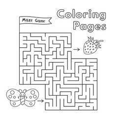 cartoon butterfly maze game vector image vector image