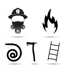 Fire fighter equipment icons set isolated vector image