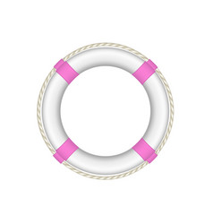 life buoy in white and pink design with rope vector image