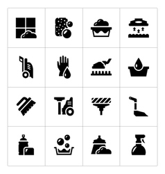 Set icons of cleaning vector image
