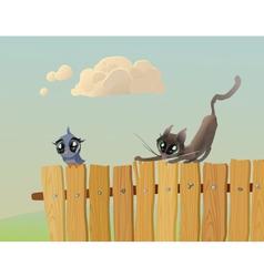 Cat hunts a bird vector image vector image