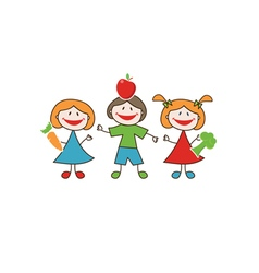 Doodle happy kids with fresh fruits and vegetables vector image