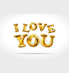 golden i love you sign gold inflatable balloons vector image