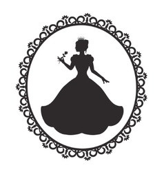 princess in a magnificent dress in a retro frame vector image vector image