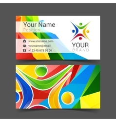 Social network card logo design green blue vector