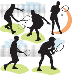 tennis silhouettes vector image vector image