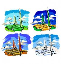 set of landscape vector image vector image