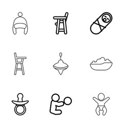 9 toddler icons vector