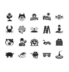 Agriculture linear icons set farming vector