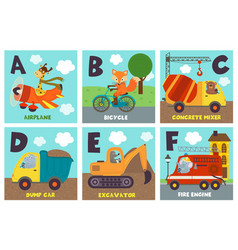 Alphabet card with transport and animals a to f vector