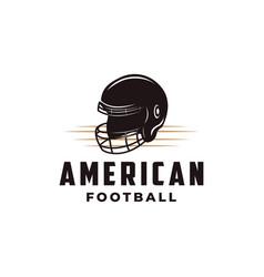 american football sport logo with football helmet vector image