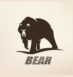 bear stylized silhouette logo template vector image