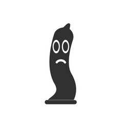 black icon on white background sad condom vector image