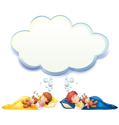 Boy and girl sleeping in bed vector image