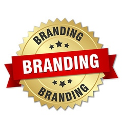 Branding 3d gold badge with red ribbon vector