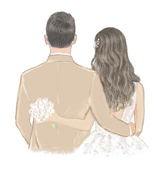 Bride and groom on wedding day hand drawn vector