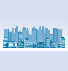 buildings and skyscrapers line blue background vector image