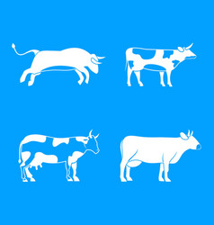 bull cow icon blue set vector image
