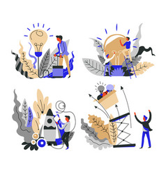 business startup concept isolated icons idea and vector image