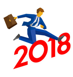 Businessman jump over number 2018 vector